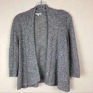 Eileen Fisher Open Cardigan Sweater Metallic
